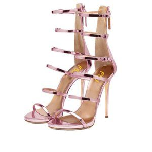 FSJ Purple Strappy Gladiator Wedding Sandals